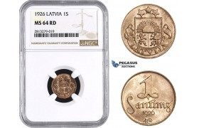 AA256, Latvia, 1 Santims 1926, NGC MS64RD