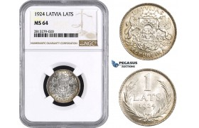 AA257, Latvia, 1 Lats 1924, Silver, NGC MS64