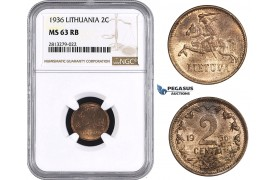 AA259, Lithuania, 2 Centai 1936, NGC MS63RB