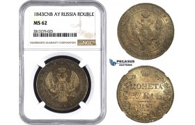 AA263, Russia, Nicholas I, Rouble 1843 СПБ-АЧ, St. Petersburg, Silver, NGC MS62