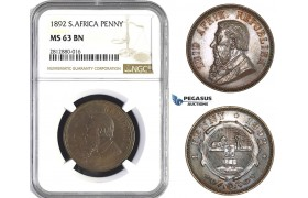 AA266, South Africa (ZAR) Penny 1892, NGC MS63BN