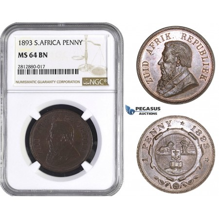 AA267, South Africa (ZAR) Penny 1893, NGC MS64BN, Rare!