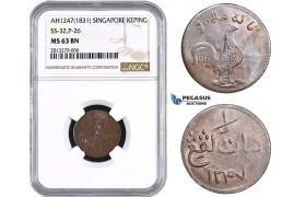 AA268, Singapore, Keping AH1247 (1831) SS-32, P-26, NGC MS63BN