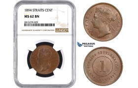 AA269, Straits Settlements, Victoria, 1 Cent 1894, NGC MS62BN, Rare!