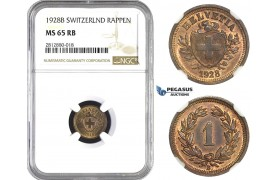 AA270, Switzerland, Rappen 1928-B, Bern, NGC MS65RB