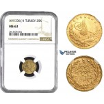 AA271, Ottoman Empire, Turkey, Mehmed Vahdeddin VI, 25 Kurush AH1336/1, Qustantiniya, Gold, NGC MS63