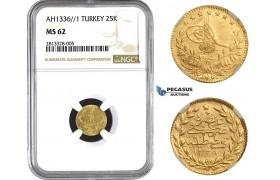 AA272, Ottoman Empire, Turkey, Mehmed Vahdeddin VI, 25 Kurush AH1336/1, Qustantiniya, Gold, NGC MS62