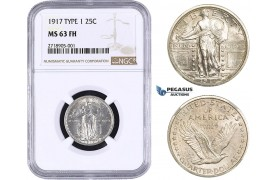 AA273, United States, Standing Liberty Quarter 1917, Type 1, Philadelphia, Silver, NGC MS63FH