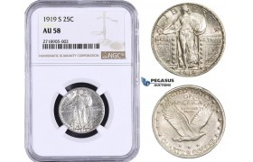 AA274, United States, Standing Liberty Quarter 1919-S, San Francisco, Silver, NGC AU58