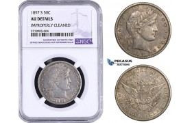AA275-R, United States, Barber Half Dollar (50C) 1897-S, San Francisco, Silver, NGC AU Details., Rare!