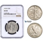 AA276-R, United States, Walking Liberty Half Dollar (50C) 1918-S, San Francisco, Silver, NGC AU58 (Looks better)