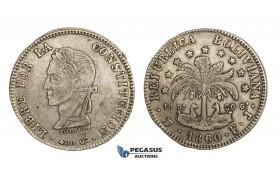 AA280, Bolivia, 8 Soles 1860 PTS, Potosi, Silver, aXF