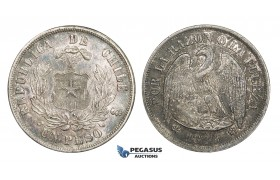 AA284, Chile, Peso 1876-SO, Santiago, Silver, Strong toning, VF-XF