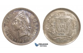 AA286, Dominican Republic, 1/2 Peso 1937, Silver, Toned AU-UNC