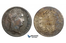 AA289, France, Napoleon, 5 Francs 1813-M, Toulouse, Silver, Dark toning, XF-AU