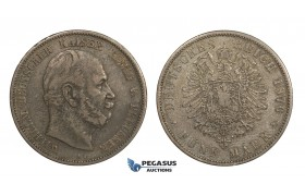 AA292, Germany, Prussia, Wilhelm I, 5 Mark 1876-A, Berlin, Silver, Toned aVF