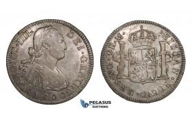 AA292A, Guatemala, Charles IV, 2 Reales 1800 NG M, Nueva Guatemala, Silver, Toned XF-AU