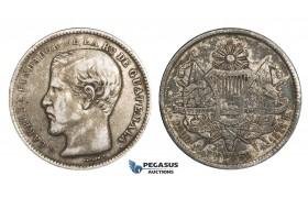 AA293, Guatemala, Peso 1871-R, Silver, Toned VF