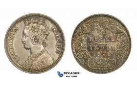 AA295, India (British) Victoria, 1/4 Rupee 1876, Silver, Toned AU-UNC