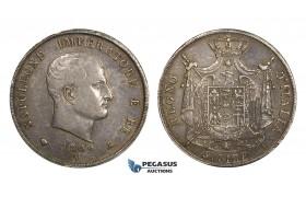 AA300, Italy, Kingdom of Napoleon, 5 Lire 1809-M, Milan, Silver, Toned VF