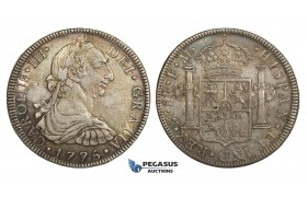 AA304, Mexico, Charles III, 8 Reales 1775 Mo FM, Mexico City, Silver, Toned XF-AU