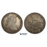 AA306, Mexico, Ferdinand VII, 8 Reales 1810 Mo HJ, Mexico City, Silver, Toned VF (weak strike)