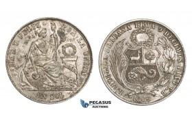 AA311, Peru, Sol 1869 LIMA YB, Lima, Silver, AU