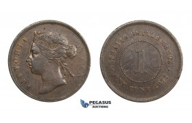 AA315, Straits Settlements, Victoria, Cent 1877, Brown VF-XF