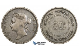 AA316, Straits Settlements, Victoria, 50 Cents 1896, Silver, Toned aVF