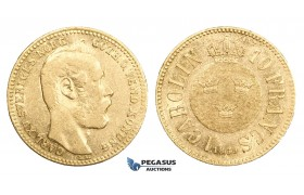 AA317, Sweden, Carl XV, Carolin/10 Francs 1869 LA, Stockholm, Gold, aVF