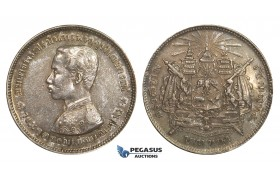 AA318, Thailand, Rama V, 1 Baht ND (1876-1900) Silver, Fine Toning, AU-UNC