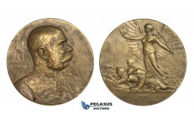 AA322, Austria, Bronze Medal 1914 (Ø49.9mm, 54g) by Neuberger & Hartig, Franz Joseph, WW1