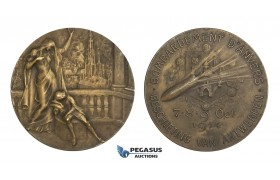 AA324, Belgium, Bronze Art Nouveau Medal 1914 (Ø49.3mm, 46g) by Mauquoy, WW1 Antwerp Bombardment