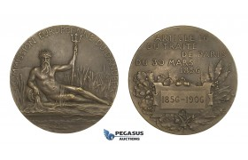 AA332, Romania, Bronze Art Nouveau Medal 1906 (Ø60mm, 83.7g) by Patey, European Danube Commission
