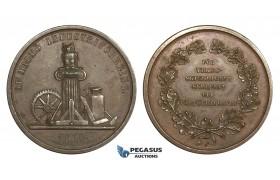 AA335, Sweden, Bronze Medal 1860 (Ø31mm, 14.8g) Owl, Malmö Industry