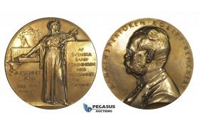 AA342, Sweden, Bronze Art Nouveau Medal 1913 (Ø60.5mm, 117g) by Lindberg, Robert Benckert, Swedish Bank