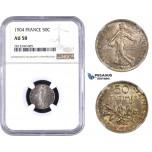 AA345-R, France, Third Republic, 50 Centimes 1904, Paris, Silver, NGC AU58