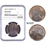 AA348-R, Great Britain, Victoria, Penny 1866, NGC MS65BN