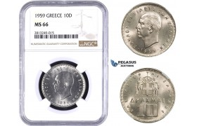 AA349-R, Greece, Paul, 10 Drachmai 1959, NGC MS66