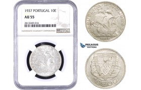 AA353-R, Portugal, 10 Escudos 1937, Silver, NGC AU55, Rare!