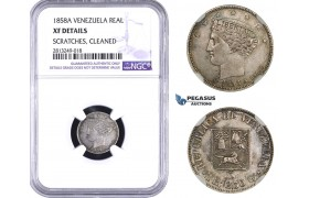 AA355-R, Venezuela, 1 Real 1858-A, Paris, Silver, NGC XF Det. Scratches are minor, nice coin in hand!