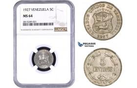 AA358-R, Venezuela, 5 Centimos 1927, NGC MS64