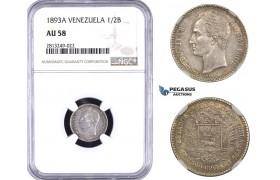 AA359-R, Venezuela, 1/2 Bolivar 1893-A, Paris, Silver, NGC AU58