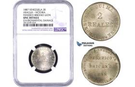 AA361-R, Venezuela, Aragua-Victoria, 2 Reales Token 1887, NGC UNC Det., Pleasing token in hand!