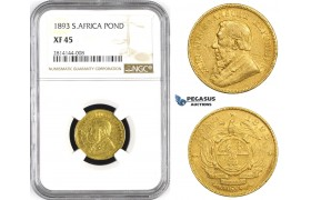 AA364, South Africa (ZAR) Pond 1893, Pretoria, Gold, NGC XF45, Rare!