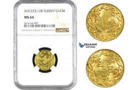 AA365, Ottoman Empire, Turkey, Mahmud II, Cedid Mahmudiye AH1223/28, Gold, NGC MS64