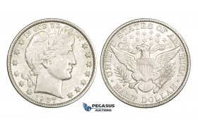 AA368, United States, Barber Half Dollar (50C) 1907, Philadelphia, Silver, Lightly cleaned AU