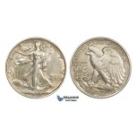 AA369, United States, Walking Liberty Half Dollar (50C) 1920, Philadelphia, Silver, Lightly polished XF-AU
