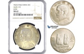 "AA377, China ""Junk"" Dollar Year 23 (1934) Silver, L&M 110, NGC MS62"