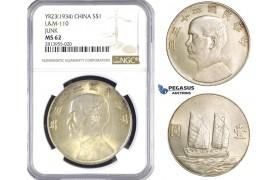 "AA377, China ""Junk"" Dollar Year 23 (1934) Silver, L&M 110, NGC MS62"